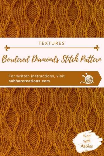 Bordered Diamonds Stitch Pattern Pin Image aabharcreations