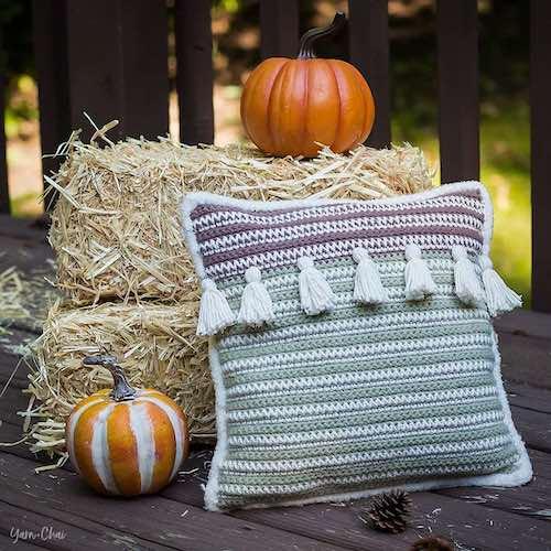 Pattern: Autumn Boho Pillow from Yarn + Chai fall crochet patterns