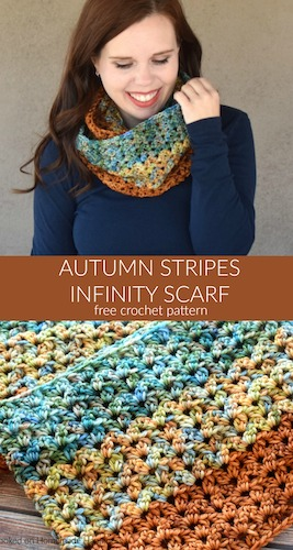 Pattern: Autumn Stripes Crochet Infinity Scarf Pattern from Hooked on Homemade Happiness