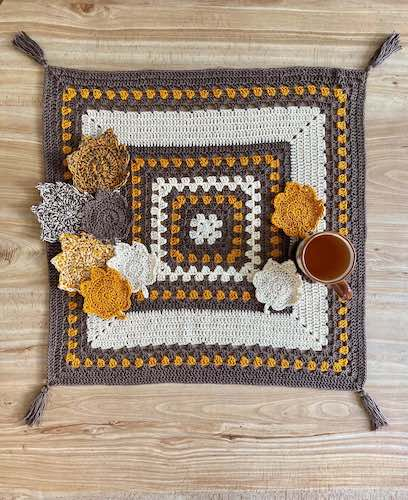 Pattern: Autumn Table Cover & Leaf Coaster Set from Lion Brand fall crochet patterns