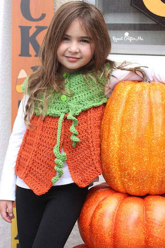 Pattern: Crochet Pumpkin Sweater Vest from Repeat Crafter Me