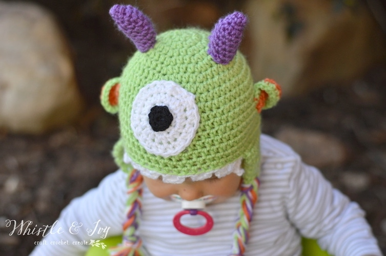 Pattern: Littlest Monster Crochet Baby Hat from Whistle and Ivy