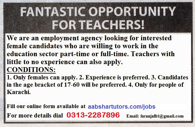 Part Time School Jobs In Karachi