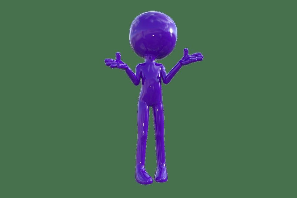 Purple figure looking inquisitive