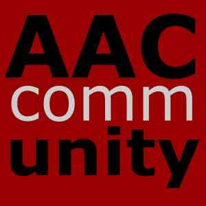 "The AAC Community Logo - Red box with AAC and ""unity"" in bold black and ""comm"" in white"
