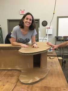 Picture of therapist making an adapted rocking chair.