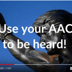 "Picture of Rocky statue saying, ""Use your AAC to be heard!"""