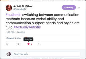 Image of Tweet about switching communication between spoken and AAC