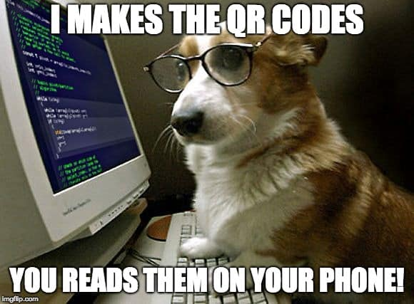 Image of corgi typing on an old computer to make QR Codes
