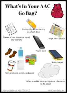 Go Bag items for AAC List