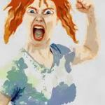 A painting of a woman with red hair, mouth open wide and raised fist.