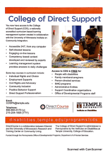 College of Direct Support Flyer
