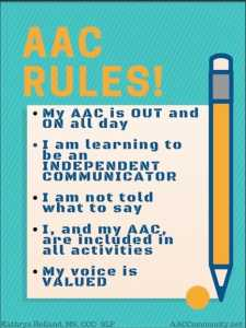 Rules for using AAC at school (AAC all day, my way)