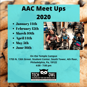 Poster with dates of AAC Meet Ups 2020 and picture of AAC users on a background of chocolate chip cookies