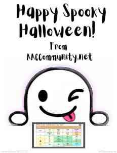 Happy Spooky Halloween from AACCommunity.net with ghost holding AAC device: White scary clothes face say boo.