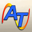 Alexicom icon - AT on an orange swoosh.
