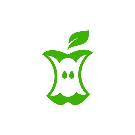 a green image of an eaten apple core