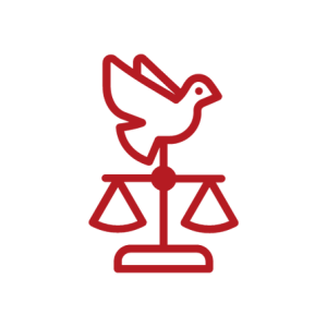 Justice Scales evenly balanced with a bird on top