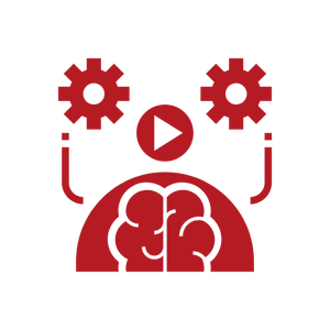 brain with gears and start arrow