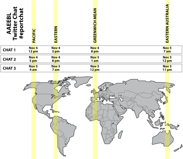 Map showing the different time zones for the twitter chat