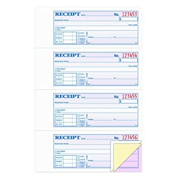 rent receipt book 3part