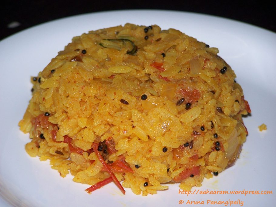 Masala Pohe or Spicy Beaten Rice with Tomato