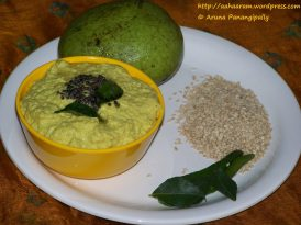Nuvvulu Mammidikaya Pachadi or Sesame and Raw Mango Chutney