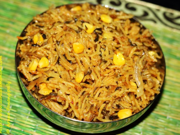 Methi Corn Biryani | Rice with Fresh Fenugreek Leaves and Corn