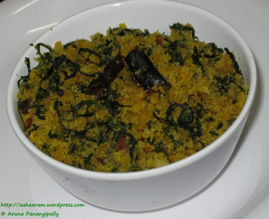 Menthi Koora Patholi or Fenugreek Leaves with Bengal Gram