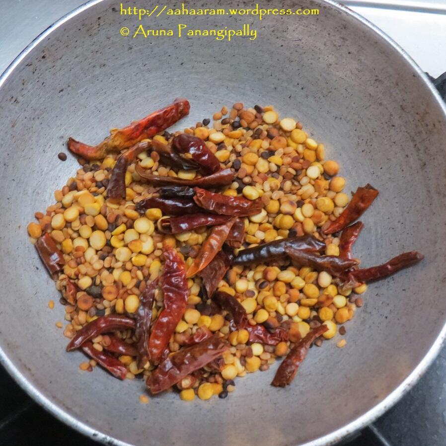 Khara Podi or Mulaga Podi or Idli Chutney Podi - Fried Mix