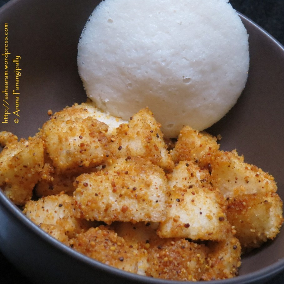 Podi Tossed Idlis or Idlis Smothered in Mulaga Podi