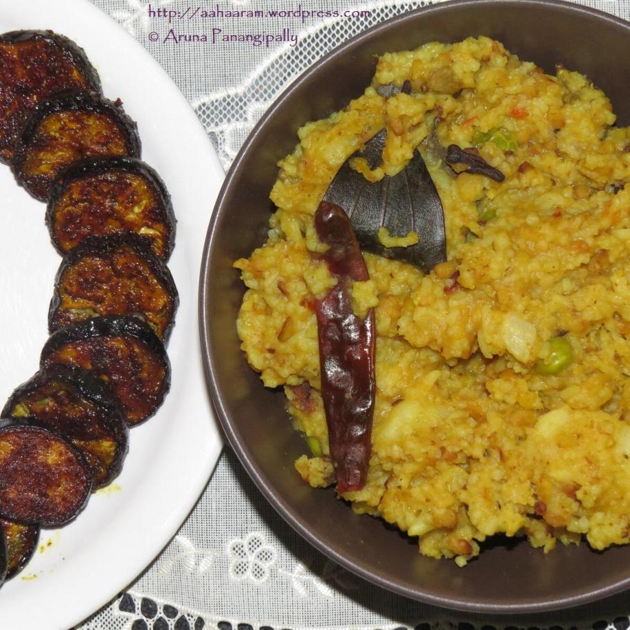 Bhoger Khichuri or Bengali Khichuri or Niramish Khichuri with Baigun Bhaja