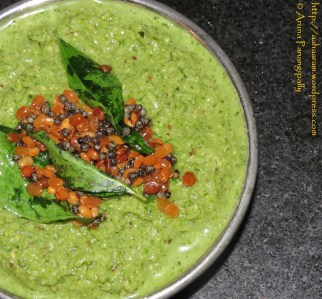 Coriander and Coconut Chutney for Idli and Dosa, Kothimalli-Thengai Thogayal, Kothimira-Kobbari Pachadi