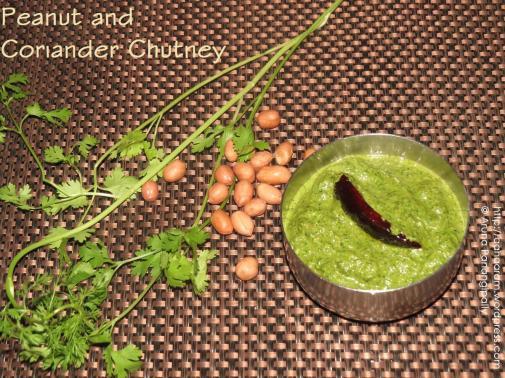 Peanut and Coriander Chutney/Kothimeera Verusenaga Pachadi