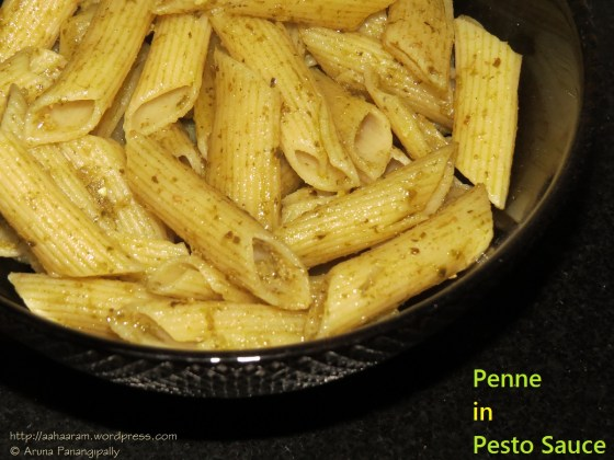 Penne in Fresh Basil and Walnut Pesto
