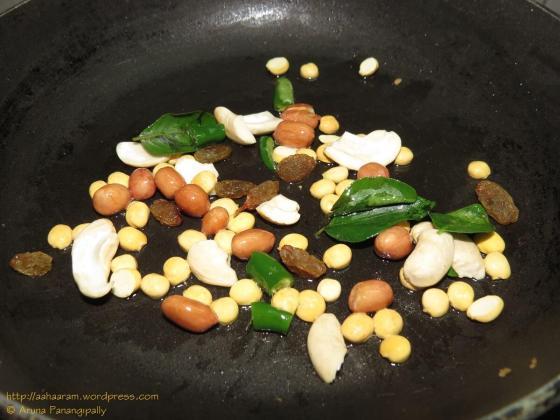 Poha Chivda - Fry nuts and raisins