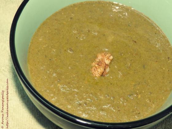 Raintha - Akhrot aur Palak Raita, Spinach, Walnut and Yogurt Dip is a recipe found in a Dham in the Kangra Valley