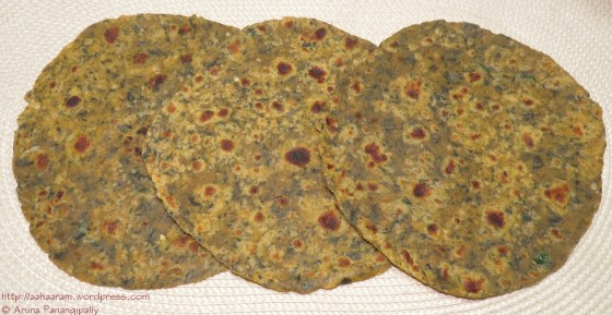 Spicy Palak Parathas or Spinach Rotis