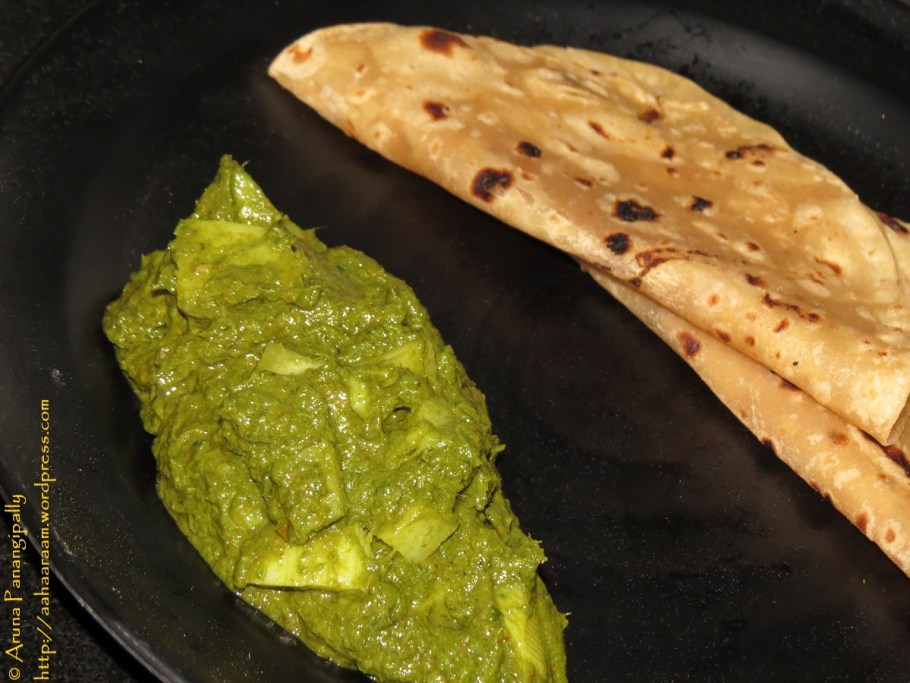 Alu Palak - Potato and Spinach Curry with Roti
