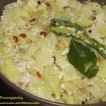 Cabbage Thoran, Muttaikose Poriyal or Cabbage Kobbari Kura