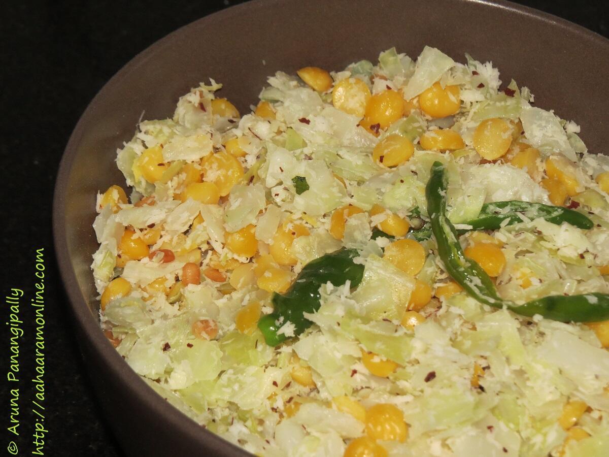 Cabbage and Bengal Gram Poriyal or Thoran