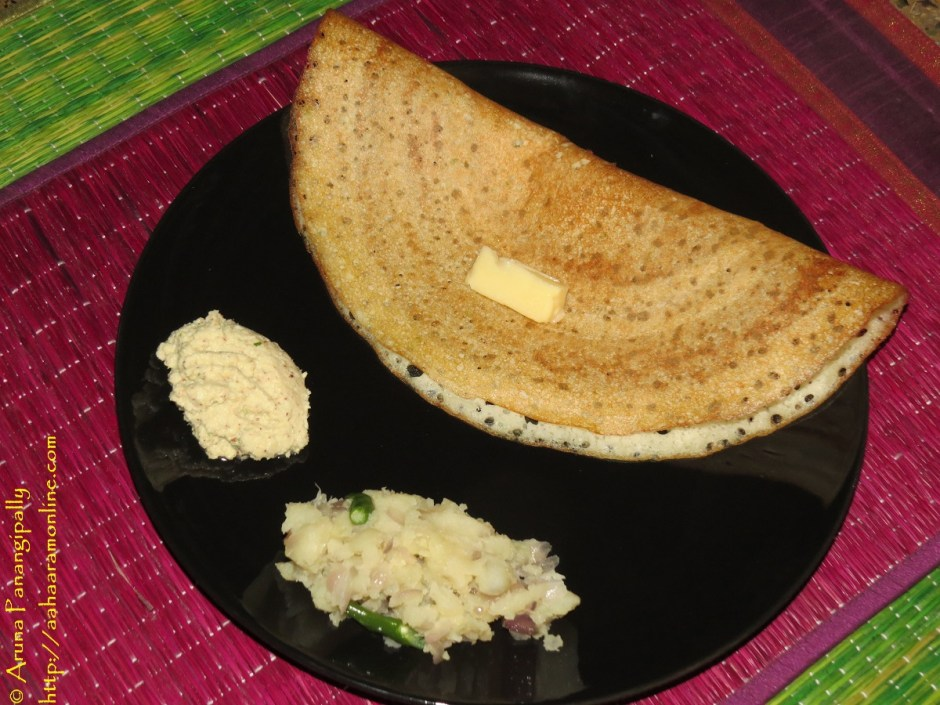 Davangere Benne Dosa with Potato Palya and Coconut Chutney