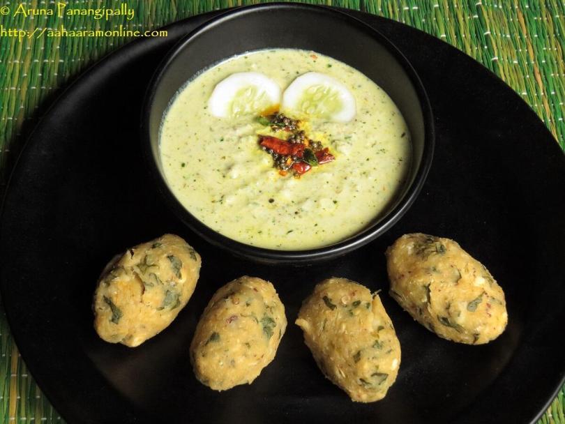 Southekayi Hasi Majjige served with Nucchina Unde. A traditional breakfast in Karnataka