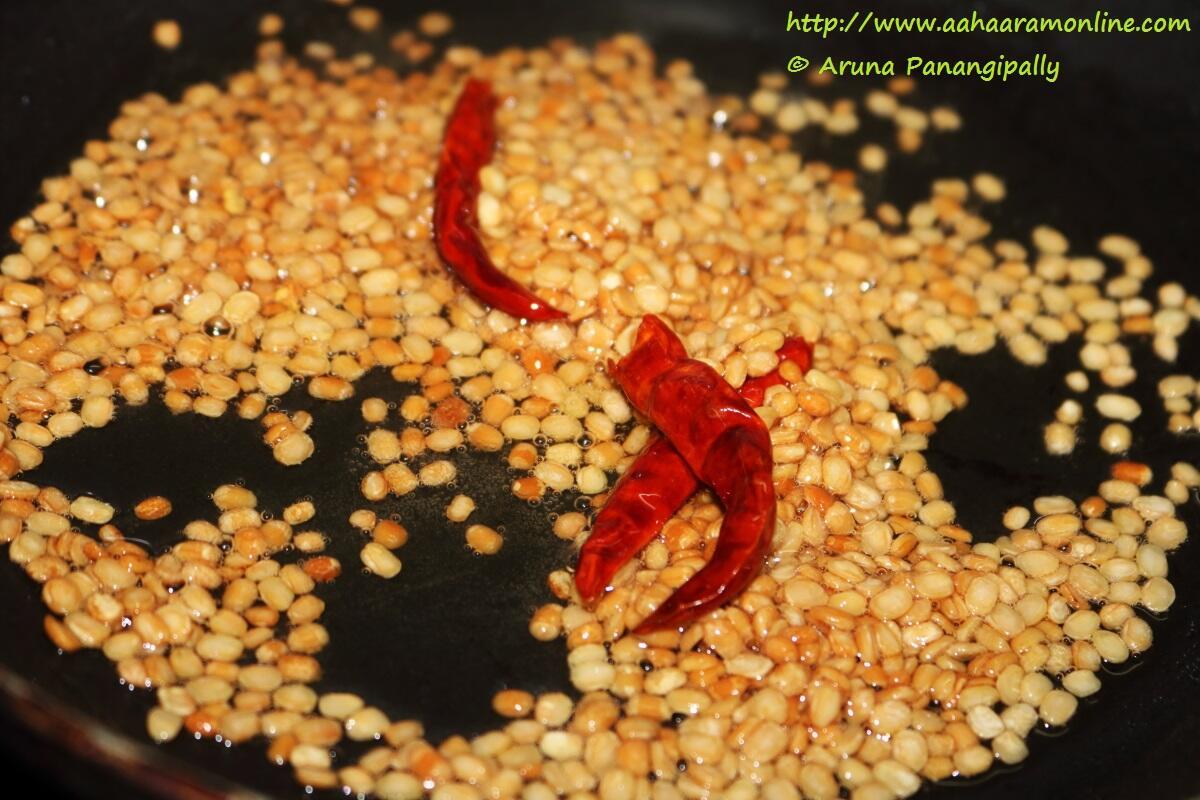 Add Chillies to Fried Udad Dal