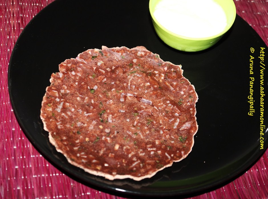 Red Ragi Rotti (Finger Millet Bread) served with yoghurt