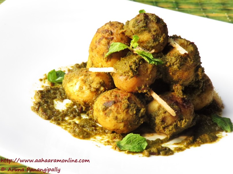 Aloo Chutneywale | Baby Potatoes cooked in green chutney