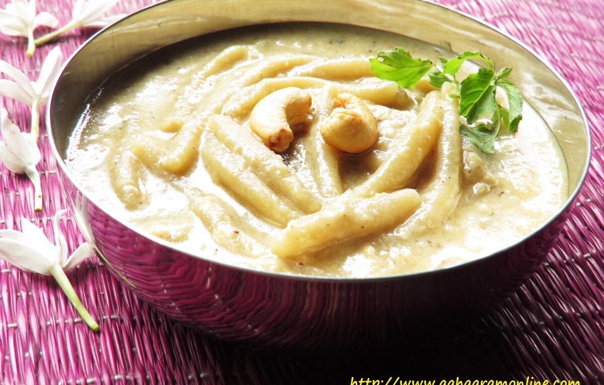Andhra Bellam Pala Thalikalu is an Andhra Rice Flour Noodle, Milk, and Jaggery Pudding