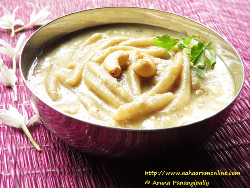 Andhra Bellam Pala Thalikalu is an Andhra Rice Flour Noodle, Milk, and Jaggery Pudding