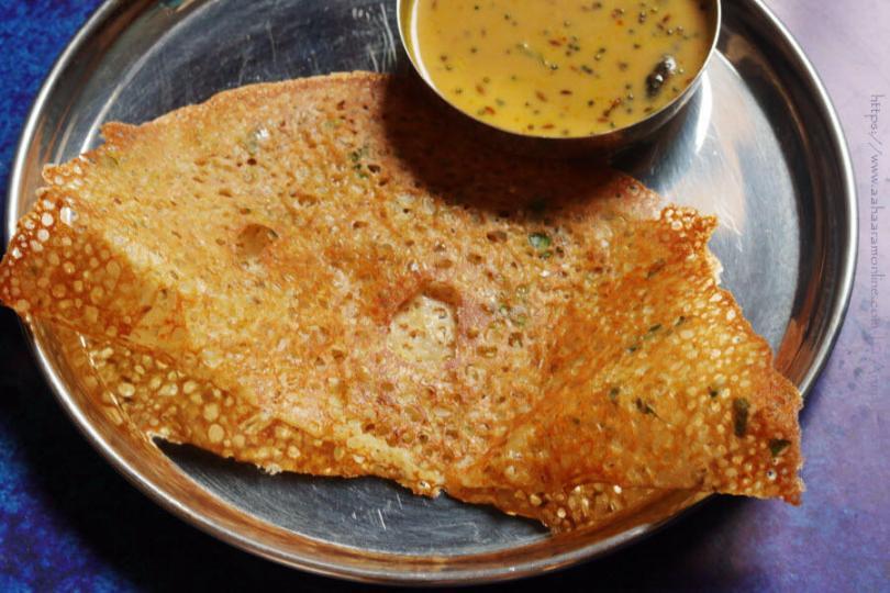 Crispy, lacy Godhuma Dosa with Senaga Pindi Pachadi