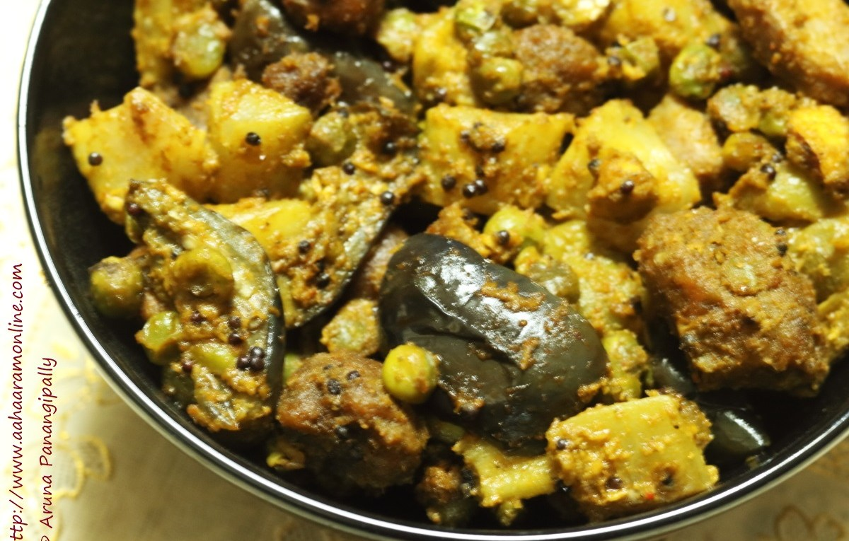 Panchkutiyu Shaak: Mixed Vegetables flavoured with a coconut-coriander-sugar-lemon masala from Gujarat